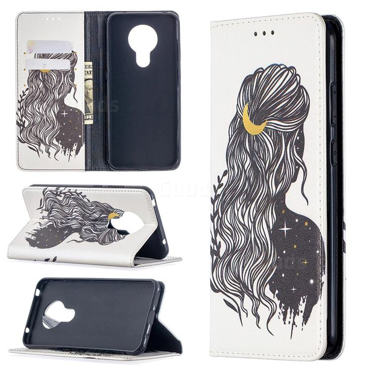 Girl with Long Hair Slim Magnetic Attraction Wallet Flip Cover for Nokia 5.3