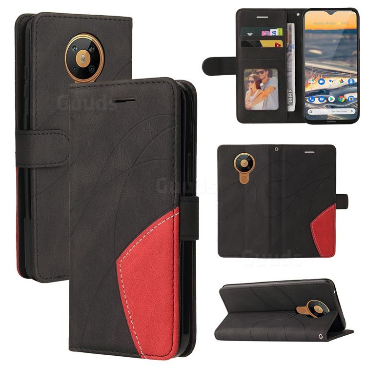 Luxury Two-color Stitching Leather Wallet Case Cover for Nokia 5.3 - Black