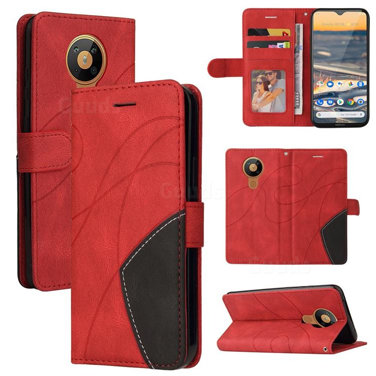 Luxury Two-color Stitching Leather Wallet Case Cover for Nokia 5.3 - Red