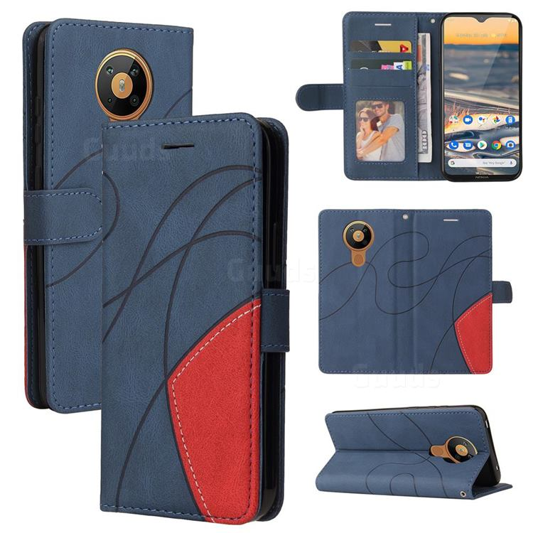 Luxury Two-color Stitching Leather Wallet Case Cover for Nokia 5.3 - Blue