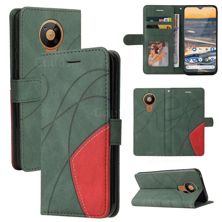 Luxury Two-color Stitching Leather Wallet Case Cover for Nokia 5.3 - Green