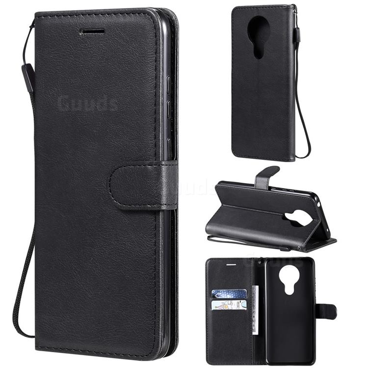 Retro Greek Classic Smooth PU Leather Wallet Phone Case for Nokia 5.3 - Black