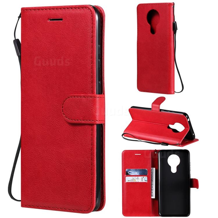 Retro Greek Classic Smooth PU Leather Wallet Phone Case for Nokia 5.3 - Red