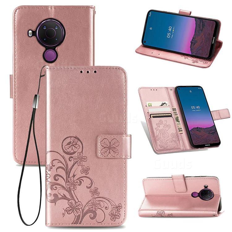 Embossing Imprint Four-Leaf Clover Leather Wallet Case for Nokia 5.4 - Rose Gold