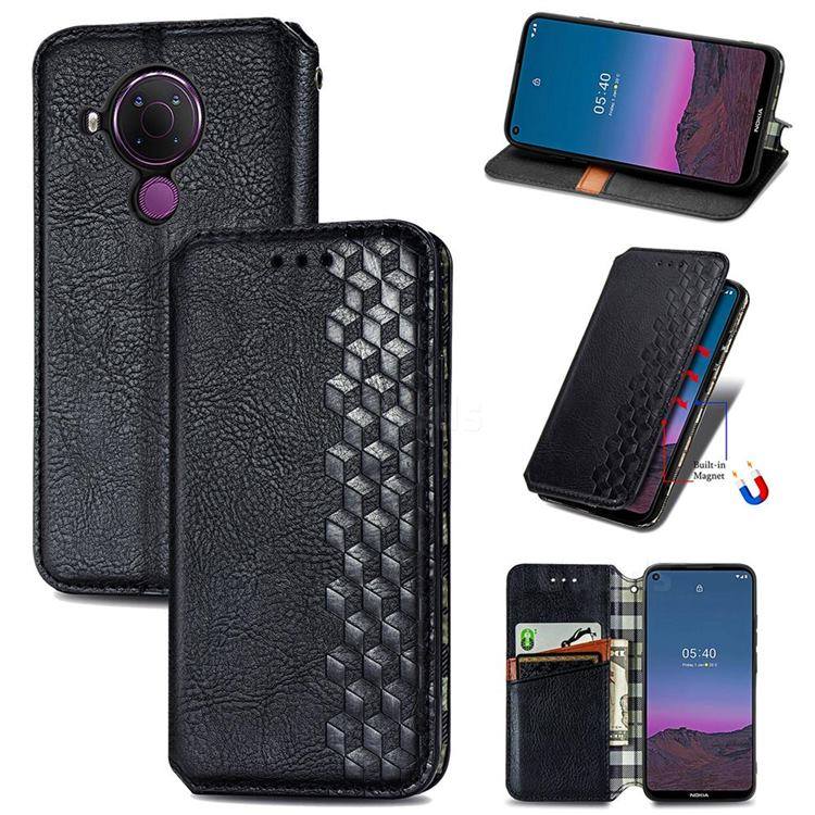 Ultra Slim Fashion Business Card Magnetic Automatic Suction Leather Flip Cover for Nokia 5.4 - Black