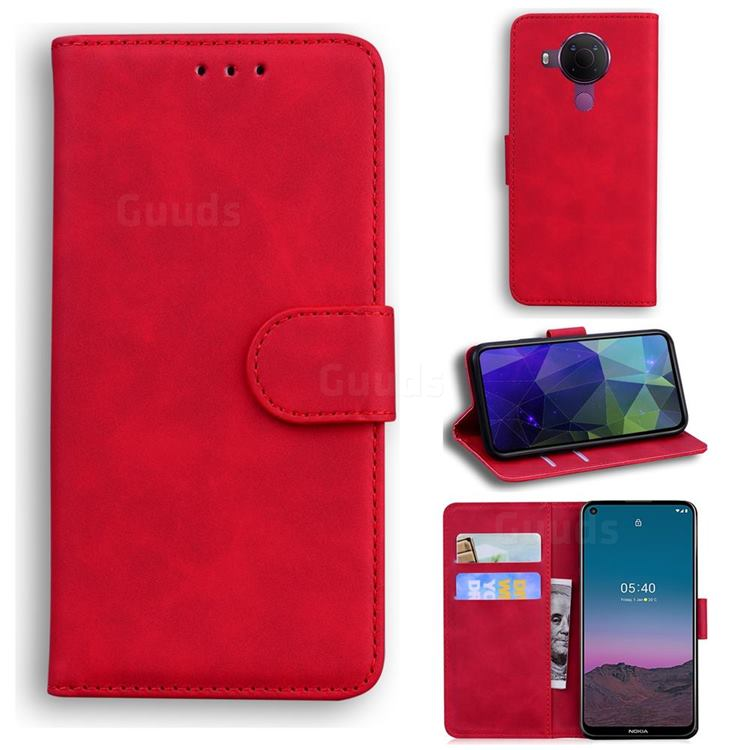 Retro Classic Skin Feel Leather Wallet Phone Case for Nokia 5.4 - Red