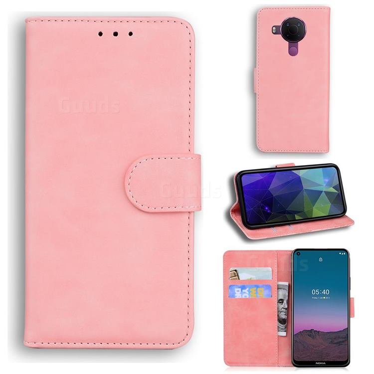 Retro Classic Skin Feel Leather Wallet Phone Case for Nokia 5.4 - Pink