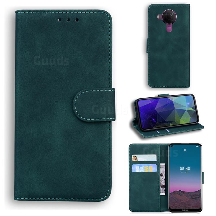 Retro Classic Skin Feel Leather Wallet Phone Case for Nokia 5.4 - Green