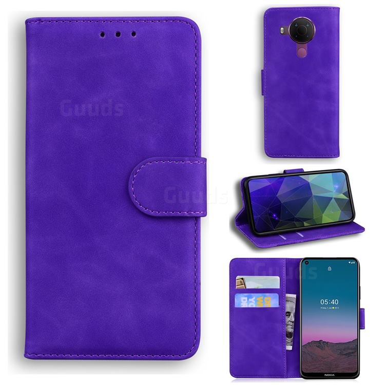 Retro Classic Skin Feel Leather Wallet Phone Case for Nokia 5.4 - Purple