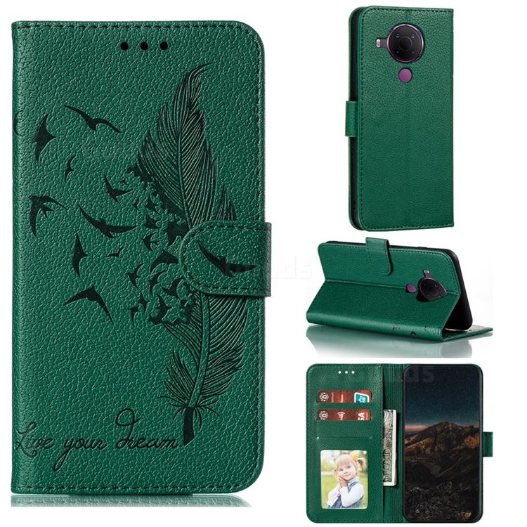 Intricate Embossing Lychee Feather Bird Leather Wallet Case for Nokia 5.4 - Green