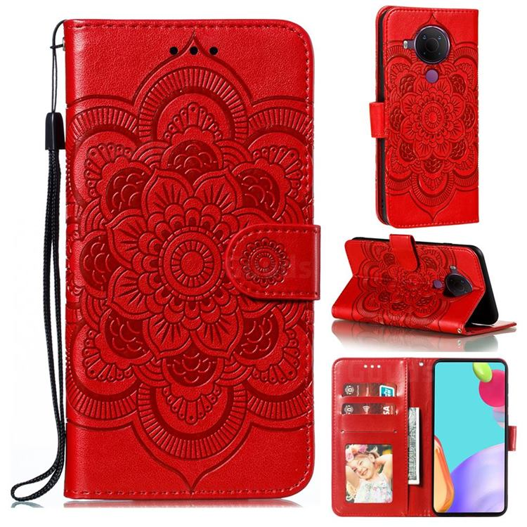 Intricate Embossing Datura Solar Leather Wallet Case for Nokia 5.4 - Red