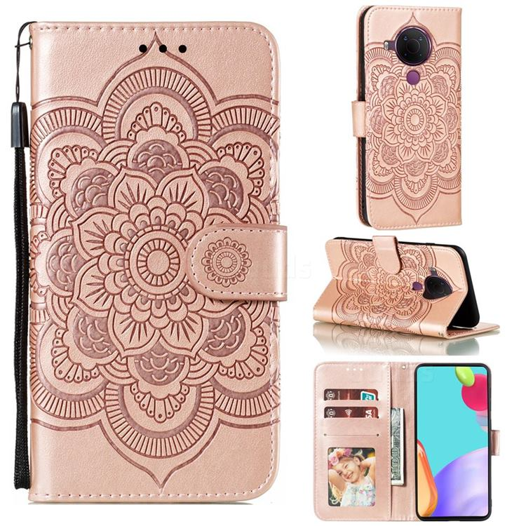 Intricate Embossing Datura Solar Leather Wallet Case for Nokia 5.4 - Rose Gold