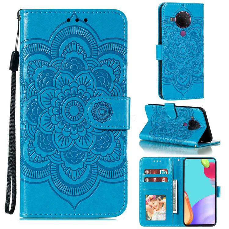 Intricate Embossing Datura Solar Leather Wallet Case for Nokia 5.4 - Blue