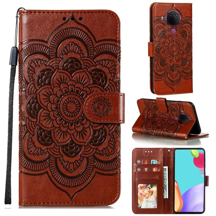 Intricate Embossing Datura Solar Leather Wallet Case for Nokia 5.4 - Brown
