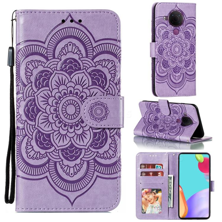 Intricate Embossing Datura Solar Leather Wallet Case for Nokia 5.4 - Purple
