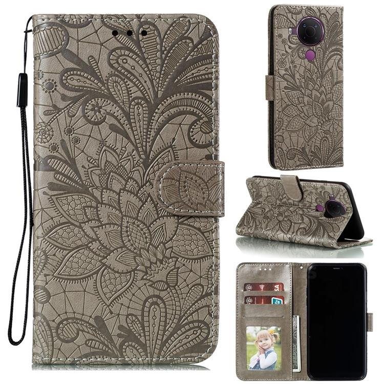 Intricate Embossing Lace Jasmine Flower Leather Wallet Case for Nokia 5.4 - Gray