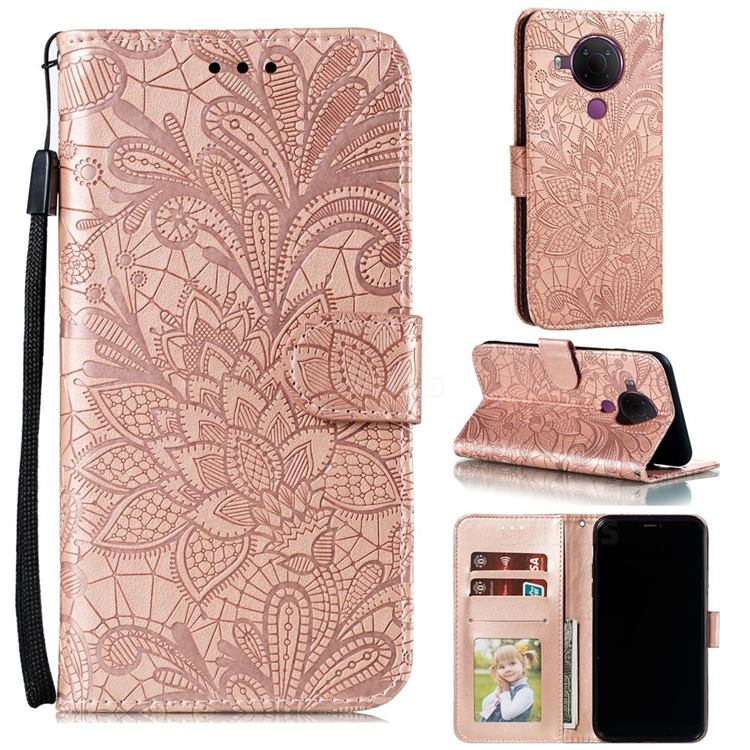 Intricate Embossing Lace Jasmine Flower Leather Wallet Case for Nokia 5.4 - Rose Gold