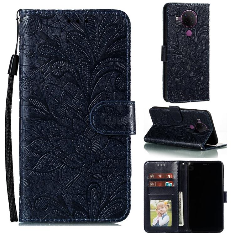 Intricate Embossing Lace Jasmine Flower Leather Wallet Case for Nokia 5.4 - Dark Blue