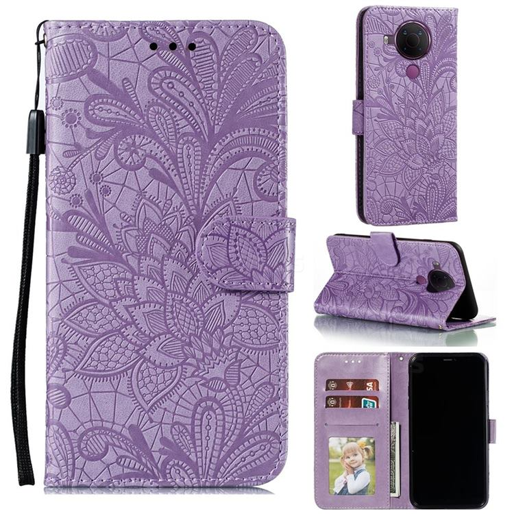 Intricate Embossing Lace Jasmine Flower Leather Wallet Case for Nokia 5.4 - Purple