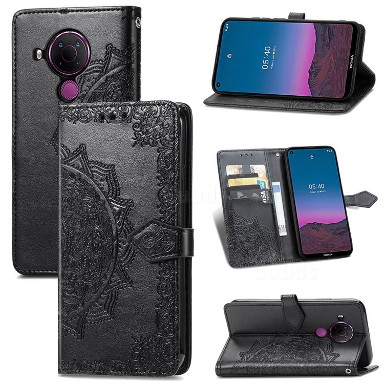 Embossing Imprint Mandala Flower Leather Wallet Case for Nokia 5.4 - Black