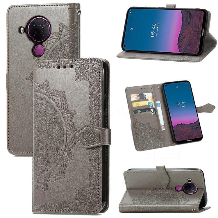 Embossing Imprint Mandala Flower Leather Wallet Case for Nokia 5.4 - Gray