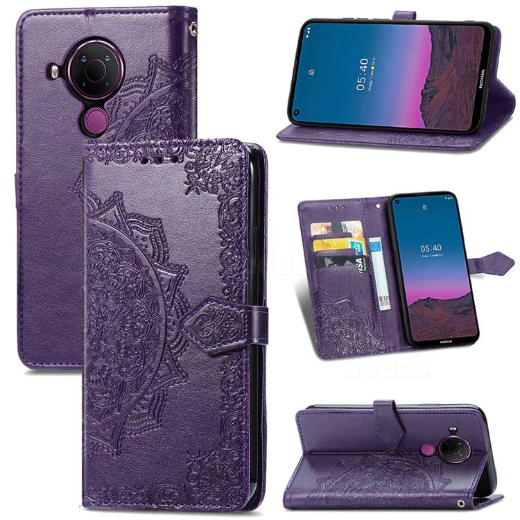 Embossing Imprint Mandala Flower Leather Wallet Case for Nokia 5.4 - Purple