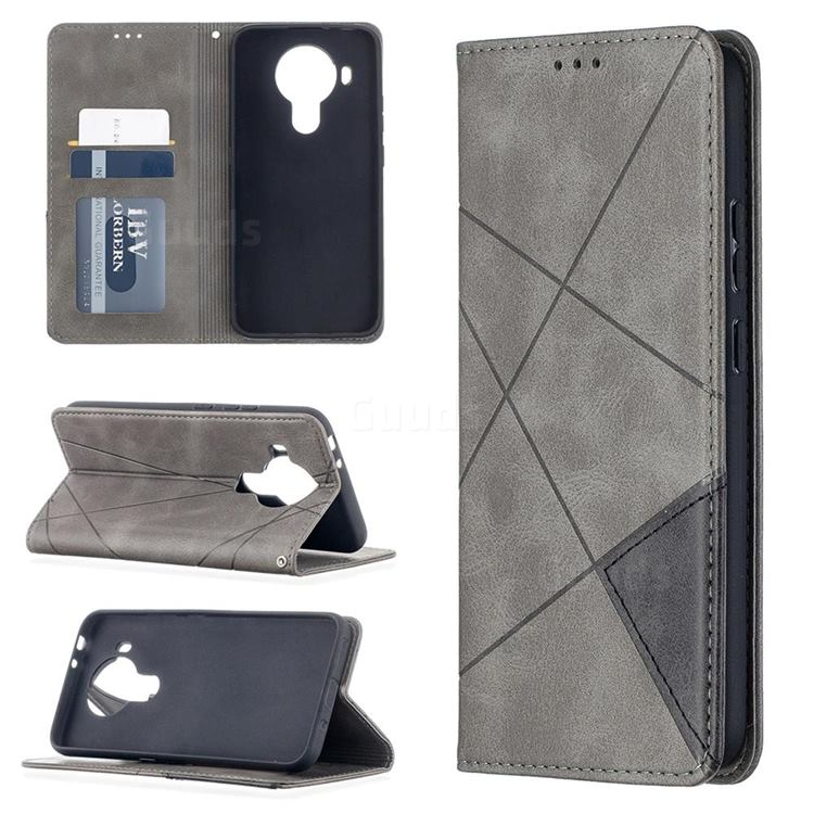 Prismatic Slim Magnetic Sucking Stitching Wallet Flip Cover for Nokia 5.4 - Gray