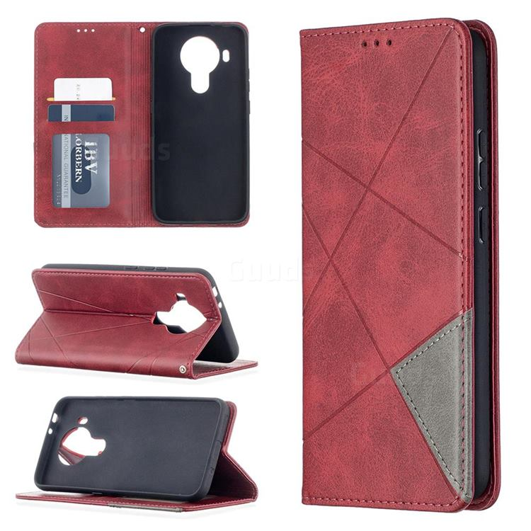 Prismatic Slim Magnetic Sucking Stitching Wallet Flip Cover for Nokia 5.4 - Red