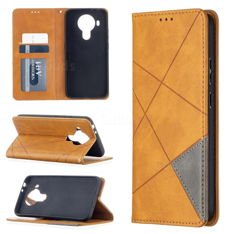 Prismatic Slim Magnetic Sucking Stitching Wallet Flip Cover for Nokia 5.4 - Yellow