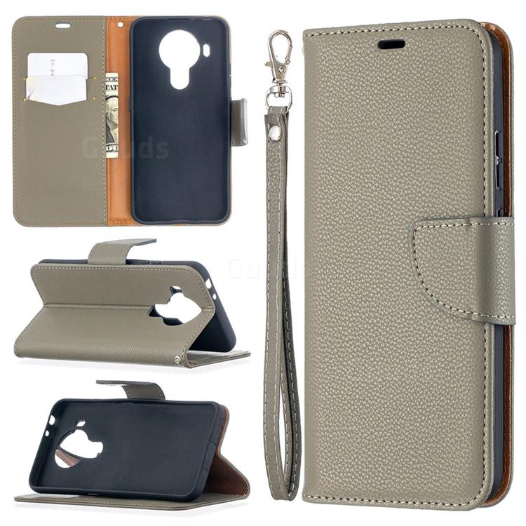 Classic Luxury Litchi Leather Phone Wallet Case for Nokia 5.4 - Gray