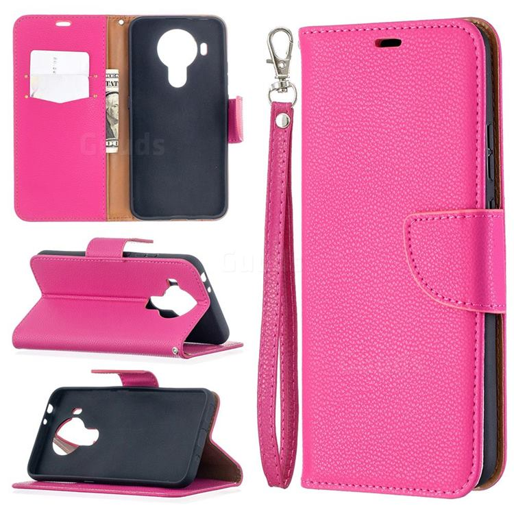 Classic Luxury Litchi Leather Phone Wallet Case for Nokia 5.4 - Rose