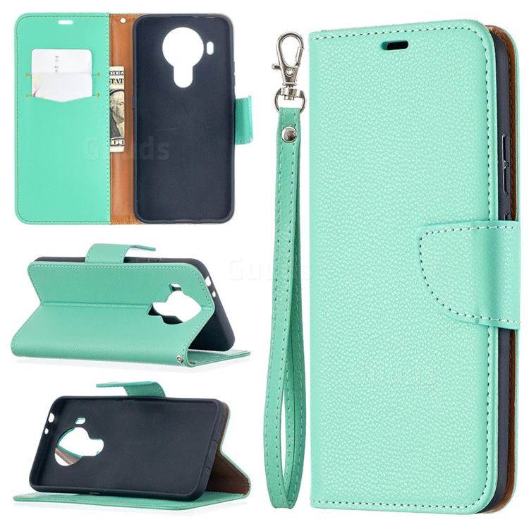 Classic Luxury Litchi Leather Phone Wallet Case for Nokia 5.4 - Green