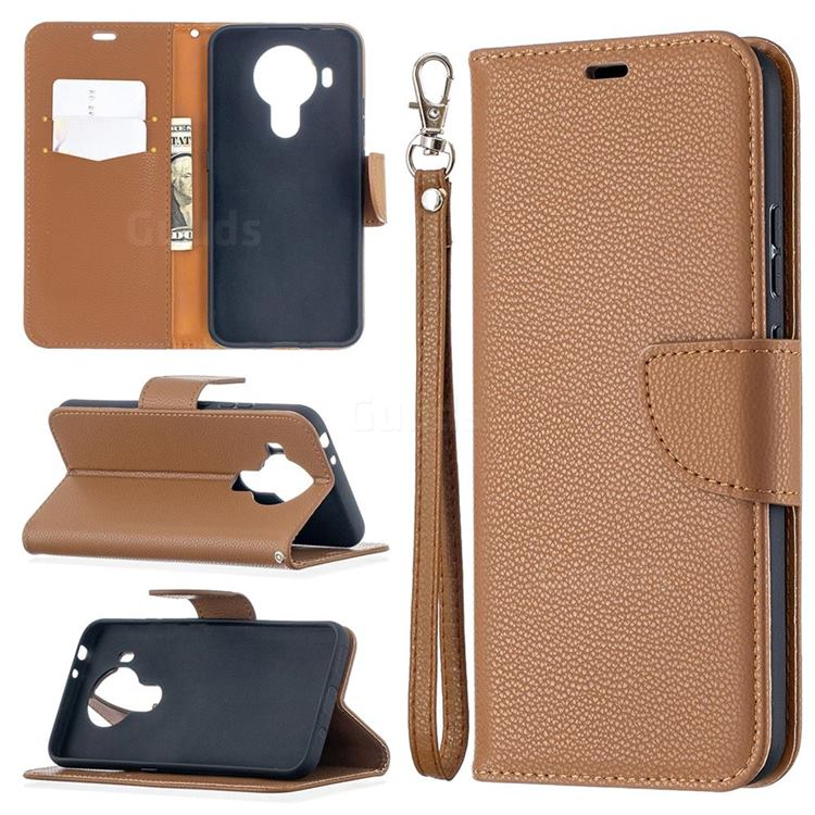 Classic Luxury Litchi Leather Phone Wallet Case for Nokia 5.4 - Brown