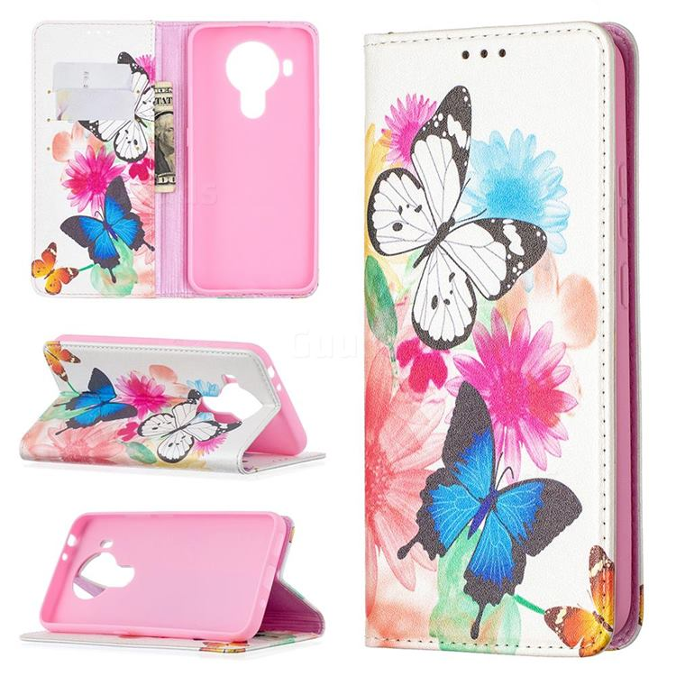 Flying Butterflies Slim Magnetic Attraction Wallet Flip Cover for Nokia 5.4