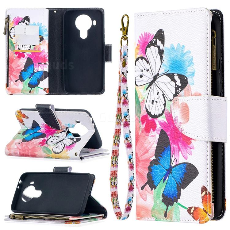 Vivid Flying Butterflies Binfen Color BF03 Retro Zipper Leather Wallet Phone Case for Nokia 5.4