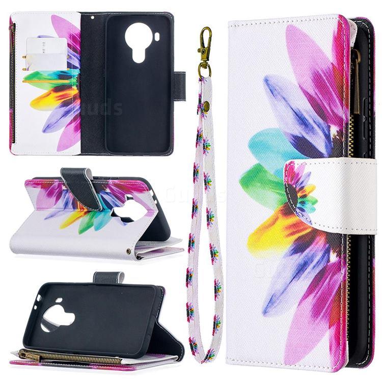 Seven-color Flowers Binfen Color BF03 Retro Zipper Leather Wallet Phone Case for Nokia 5.4
