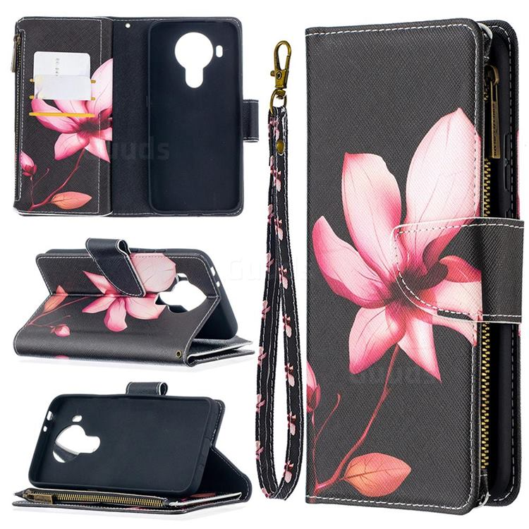 Lotus Flower Binfen Color BF03 Retro Zipper Leather Wallet Phone Case for Nokia 5.4