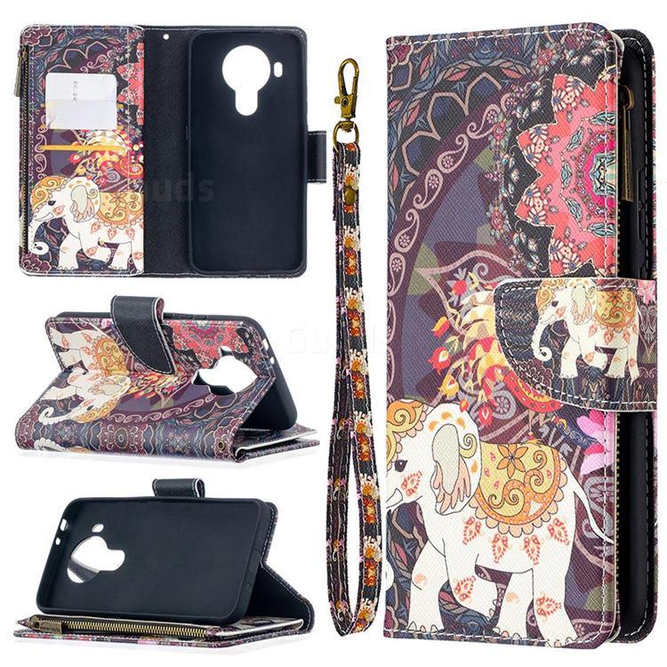 Totem Flower Elephant Binfen Color BF03 Retro Zipper Leather Wallet Phone Case for Nokia 5.4