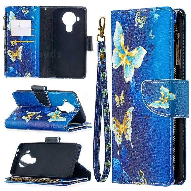 Golden Butterflies Binfen Color BF03 Retro Zipper Leather Wallet Phone Case for Nokia 5.4