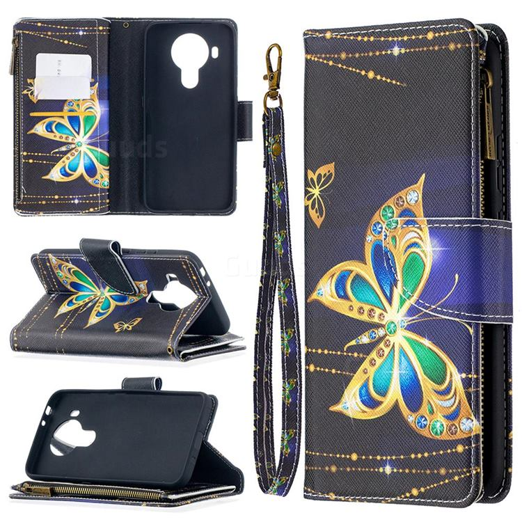 Golden Shining Butterfly Binfen Color BF03 Retro Zipper Leather Wallet Phone Case for Nokia 5.4