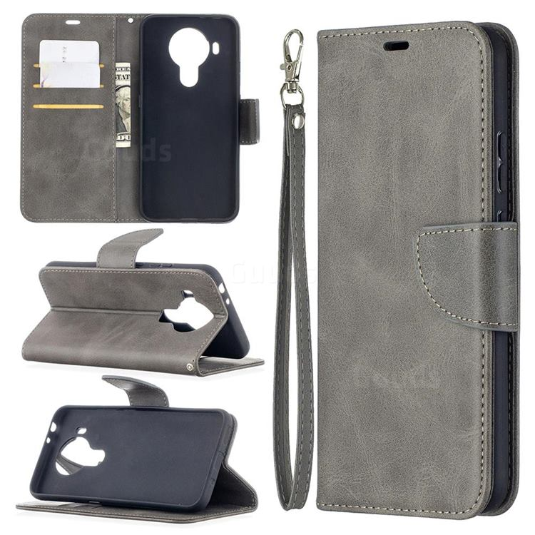 Classic Sheepskin PU Leather Phone Wallet Case for Nokia 5.4 - Gray