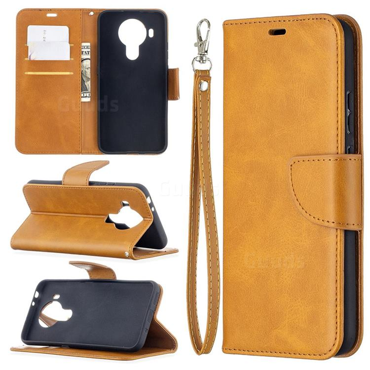 Classic Sheepskin PU Leather Phone Wallet Case for Nokia 5.4 - Yellow