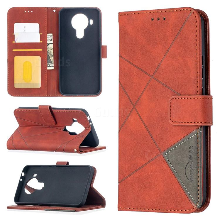 Binfen Color BF05 Prismatic Slim Wallet Flip Cover for Nokia 5.4 - Brown