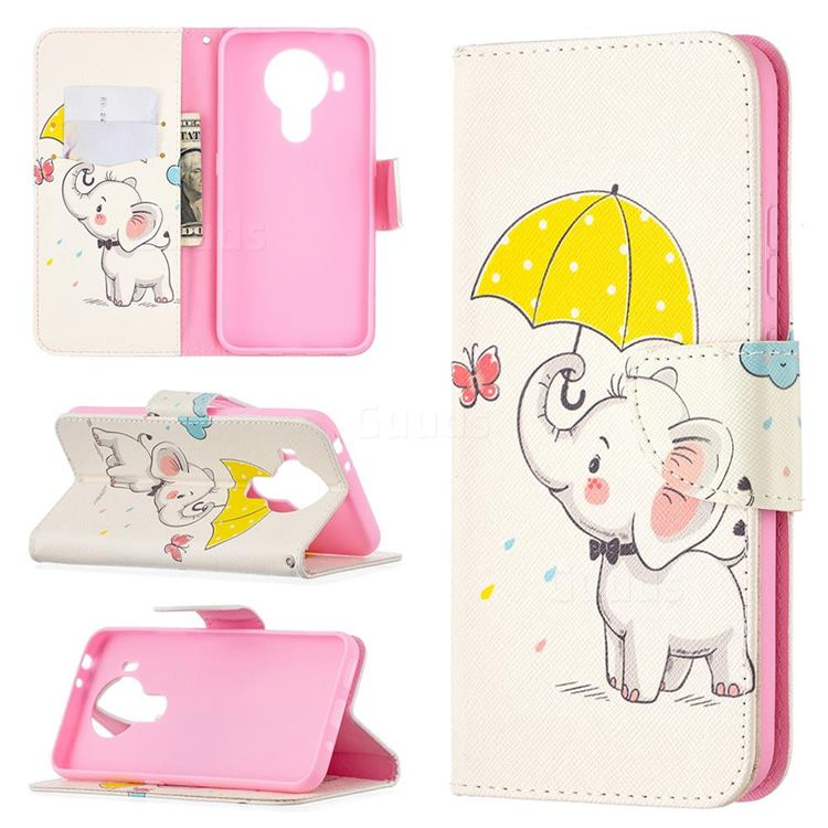 Umbrella Elephant Leather Wallet Case for Nokia 5.4