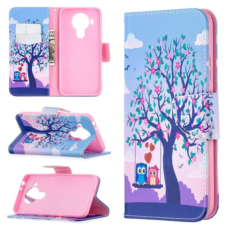 Tree and Owls Leather Wallet Case for Nokia 5.4
