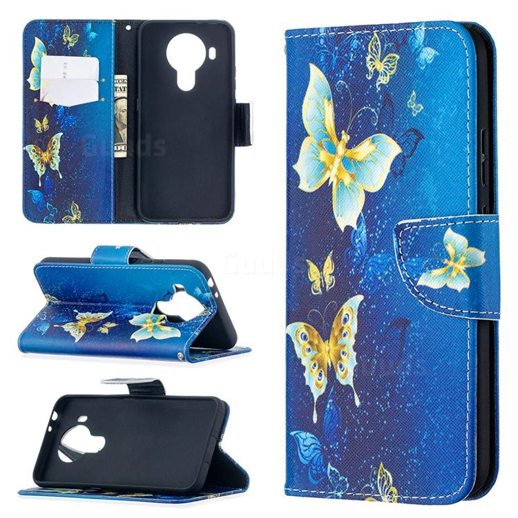 Golden Butterflies Leather Wallet Case for Nokia 5.4