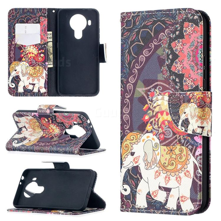 Totem Flower Elephant Leather Wallet Case for Nokia 5.4