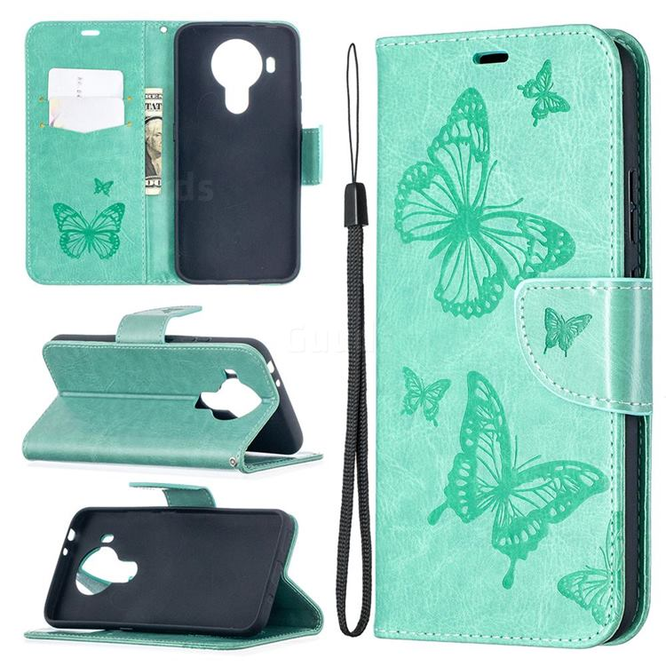 Embossing Double Butterfly Leather Wallet Case for Nokia 5.4 - Green
