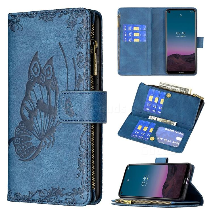 Binfen Color Imprint Vivid Butterfly Buckle Zipper Multi-function Leather Phone Wallet for Nokia 5.4 - Blue