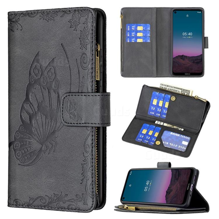 Binfen Color Imprint Vivid Butterfly Buckle Zipper Multi-function Leather Phone Wallet for Nokia 5.4 - Black